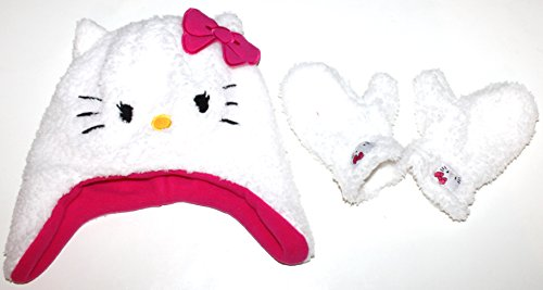 Hello Kitty Toddler Preschool Girl's Faux Sherpa Hat & Mittens ()