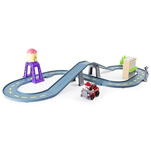 Paw Patrol Roll Patrol – Marshall's Town Rescue Track Set with Exclusive Motorized Vehicle with Lights and (Motorized Vehicle)