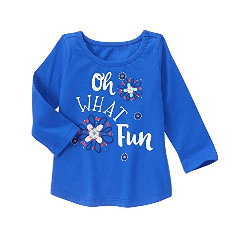 Gymboree Baby Toddler Girls' Blue Oh What Fun Graphic Tee, Capri Island, (Gymboree Island)