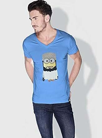 Creo Oman Minions Vshape Neck T-Shirt For Men - Blue, M