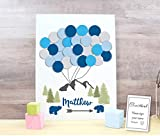 Baby Shower Boho Alternative guestbook Balloons baby shower unframed print mountains anture and bears theme for signatures boy or girl