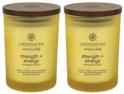 Chesapeake Bay Candle Mind   Body Scented Candle  Strength   Energy  Pineapple Coconut   Medium  2 Pack   Yellow  2 Count