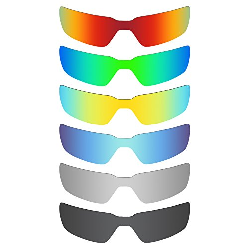 Mryok 6 Pair Polarized Replacement Lenses for Oakley Probation Sunglass - Stealth Black/Fire Red/Ice Blue/Silver Titanium/Emerald Green/24K - Sunglasses Probation