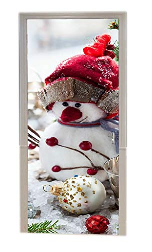 A.Monamour Cute Snowman Round Ball Pine Tree Ornaments Christmas Holiday 3D Print Eco-Friendly Vinyl Room Door Decals Wallpaper Wall Murals Removable Stickers Posters DIY Art Decors for Home