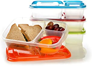 """EasyLunchboxes 3-compartment Bento Lunch Box Containers """"Classic"""" (Set of 4). BPA-free. Easy-open Lids (Not Leakproof). For Kids and Adults. Work or School Lunches"""