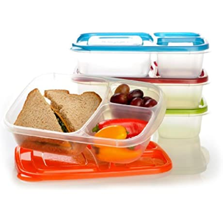 EasyLunchboxes 3 Compartment Bento Lunch Box Containers Set Of 4 Classic