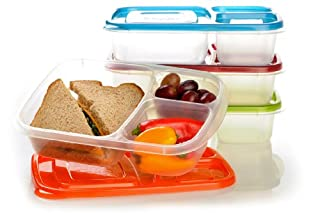 "EasyLunchboxes 3-compartment Bento Lunch Box Containers ""Classic"" (Set of 4). BPA-free. Easy-open Lids (Not Leakproof). For Kids and Adults. Work or School Lunches (B004UIRUJ2) 