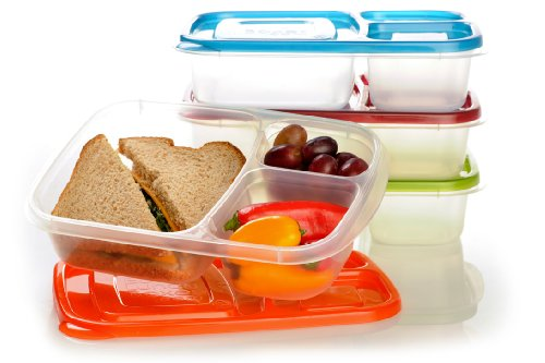 EasyLunchboxes 3-Compartment Bento Lunch Box Containers, Set of 4, Classic ()