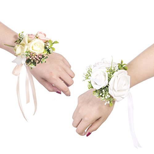 Ling's moment Wrist Corsages Bracelet White Corsage Bridesmaid Hand Flower for Wedding Festival Beach Party Prom (Set of 6) (Best Flowers For Beach Wedding)
