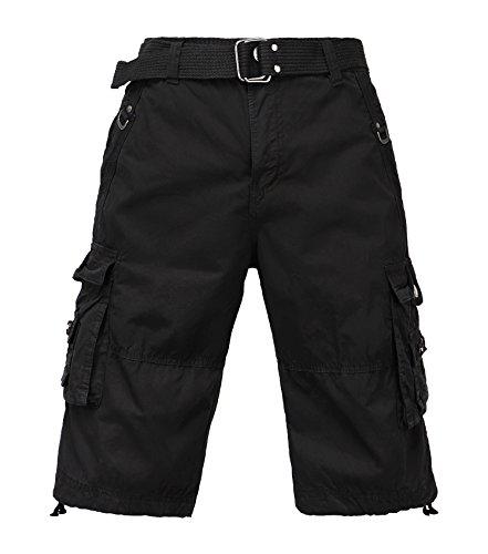 TWO BLOCKS OFF Men's Classic-Fit Cargo Short/Waist Belt/Multiple Pockets Black Size 38