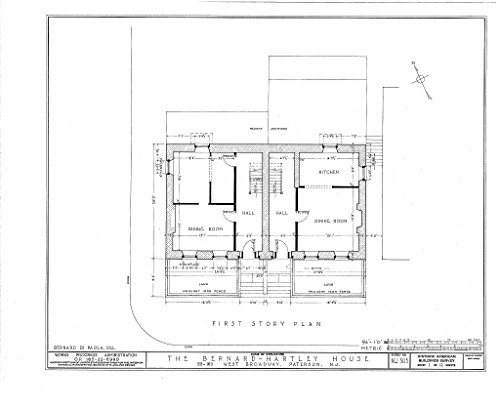 Historic Pictoric Blueprint Diagram HABS NJ,16-PAT,4- (Sheet 1 of 13) - Bernard Hartley House, 158-160 West Broadway, Paterson, Passaic County, NJ 14in x 11in]()