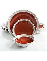 Gibson Elite Clementine 12-Piece Dinnerware Set Service for 4, Red Reactive Glaze
