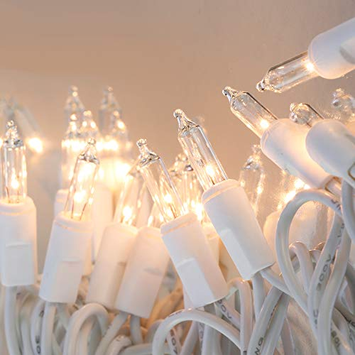 LIDORE 100 Counts Super Bright Clear Mini Christmas tree Lights. White Wire Best Gift for Decoration. End to End Connection. Set of 100 by LIDORE