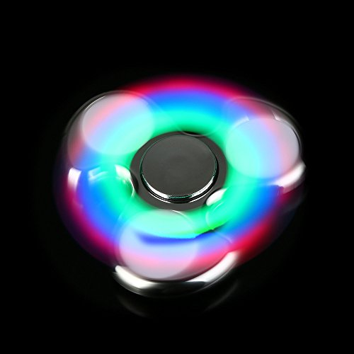 2017 LED Light Fidget Hand Spinner Toy EDC Focus By Feite (Silver 1)