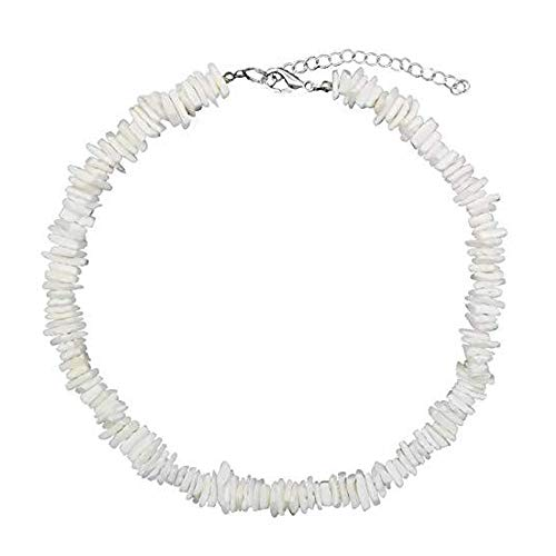 Konpicca Natural Puka Shell Necklace Clam Chips Shells Handmade Hawaii Wakiki Beach Choker Necklace (Fashionable Shell Beads Necklace)