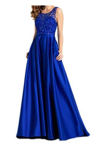 Linie Braut Royal Abendkleider La Ballkleider Satin mia Kleider Hundkragen A Kleider Blau Jugendweihe Promkleider Jugendweihe ZFn0qW1T