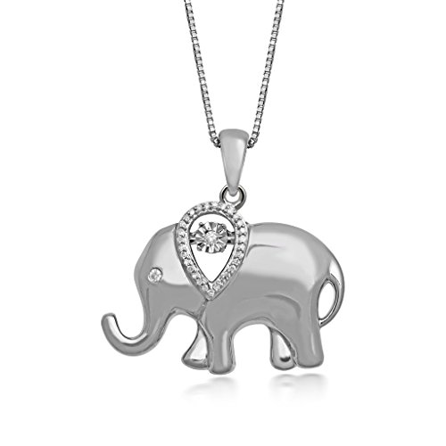 Elephant Accent Diamond Pendant (Jewelili Sterling Silver Diamond Accent Elephant Pendant Necklace, 18'')