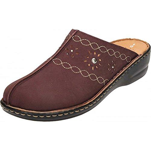 Natrelle Leather Clogs Slip On Mules Sandals Plum