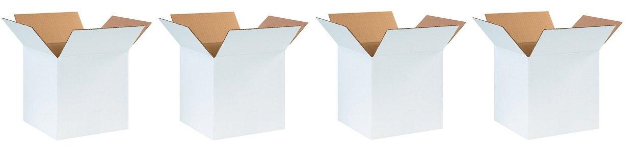Aviditi 101010W Corrugated Box, 10'' Length x 10'' Width x 10'' Height, Oyster White (Bundle of 25) (4-(Bundle of 25))
