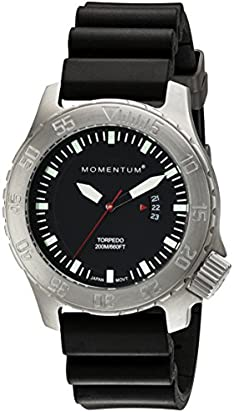 Men's Sports Watch   Torpedo Dive Watch by Momentum   Stainless Steel Watches for Men   Analog Watch with Japanese Movement   Water Resistant (200M/660FT) Classic Watch - Black / 1M-DV74B1B