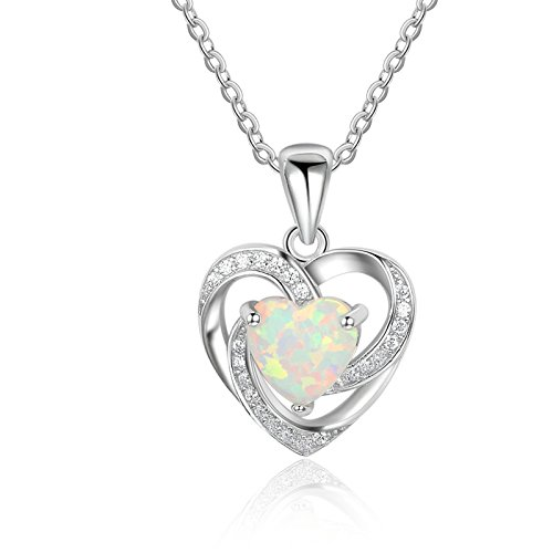 ANAZOZ Women Jewelry, S925 Silver Twisted Heart Necklace Pendant Double Heart Colorful Created-Opal White CZ for - Necklace Heart Twisted