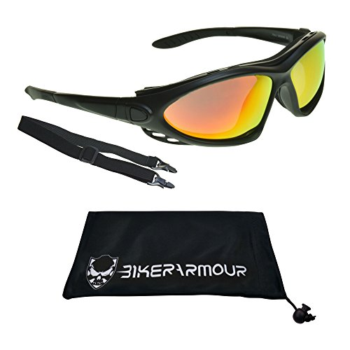 Motorcycle Glasses Sunglasses Goggles with Interchangeable Adjustable strap and Sunglass Legs and Removable Foam Cushion (Orange Mirror with Black Frame)