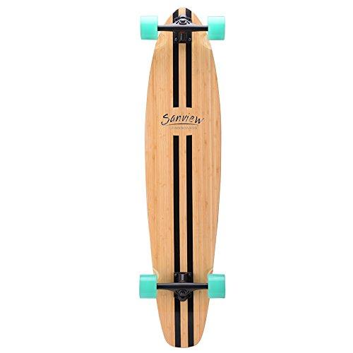 SANVIEW Bamboo Drop Through Longboard Skateboard Cruiser (Black Beeline)