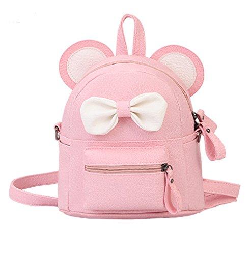 Women Girls Cute Bowknot Leather Backpack Mini Daypack Kids Schoolbag Shoulder Bag by C.C-US