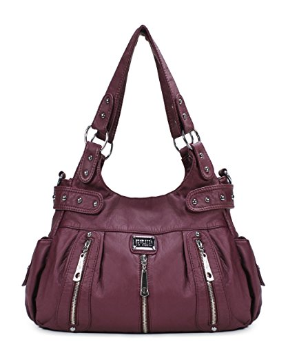 Scarleton 3 Front Zipper Washed Shoulder Bag H129216 - Purple