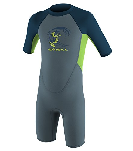 O'Neill Wetsuits Reactor Toddler Spring 2mm Wetsuit, Blue/Dayglow/Slate, Size 4