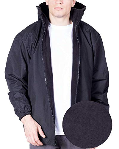 Mens Windbreaker Jacket Reversible Winter Rain Coat Hoodie for Men X-Large Black (Flannel Reversible Hoodie)