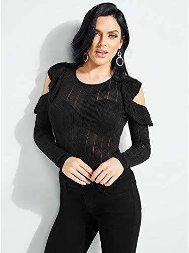 Sweater Metallic Nylon (Guess Women's Long Sleeve Prism Lurex Rib Mix Sweater, Jet Black/Multi, L)