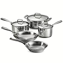 Tramontina 80101/201DS Gourmet Prima Stainless Steel, Induction-Ready, Impact Bonded, Tri-Ply Base Cookware Set, 8 Piece, Made in Brazil