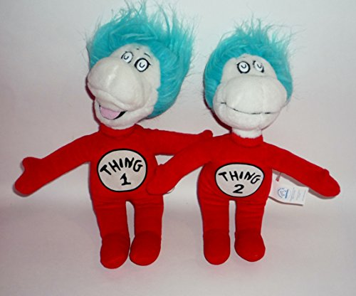 Applause Thing 1 and Thing 2 Dr. Seuss Cat in the Hat Movie Set of Plush Dolls 11