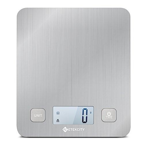 Etekcity EK6212 Digital Kitchen Multifunction Food Scale with Large Platform 11lb 5kg, Batteries Included (Stainless Steel)