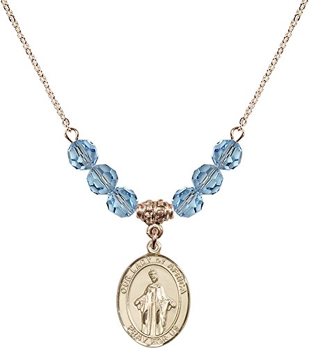 18-Inch Hamilton Gold Plated Necklace with 6mm Aqua Birthstone Beads and Gold Filled Our Lady of Africa Charm. by F A Dumont