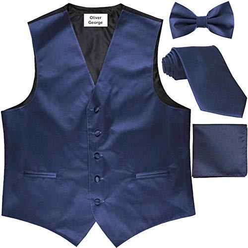 Oliver George 4pc Solid Vest Set-Navy Blue-S ()