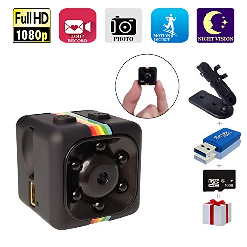Spy Camera, Papakoyal Hidden Camera Mini Camera HD 1080P/720P Spy Cam Wireless Small Portable Night Vision Motion Detection for Home, Car, Drone, Office with 16GB Card & Card Reader ()