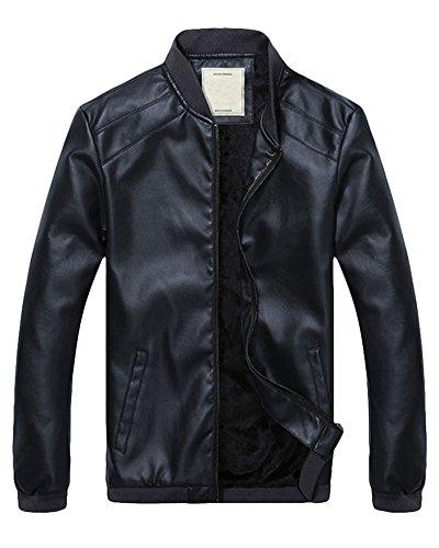 Imitazione Blu Manica Uomo Pelle Abbigliamento Colletto Giacca Lunga Marino Di Verticale xOnA1AX6