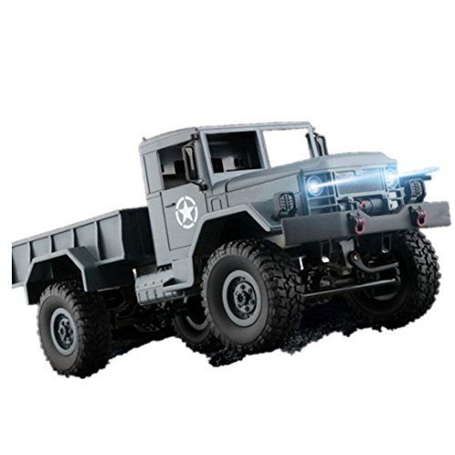 Amiley Hot Sale WPLB-14 1/16 Toy Grade 4WD RC Military Rock Crawler Truck Wireless Remote Control Car (Army Green) (Army Sales Truck)