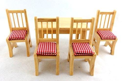 Puppenhaus Miniatur Küche Esszimmer Raum Möbel Eiche Tisch & Vier Stühle Set