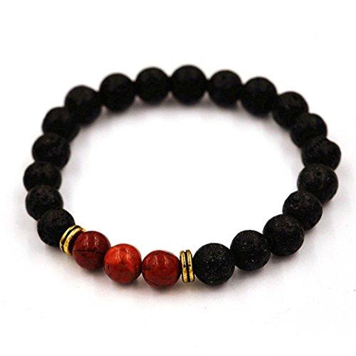 Price comparison product image JSPOYOU Promotions Women Men Agate Lava Stone Transport Bead Bracelet Tibet Charm Bracelets (Red)