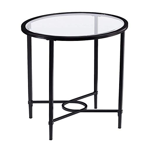 Cheap Round Glass-Top End Table, Black, Oval