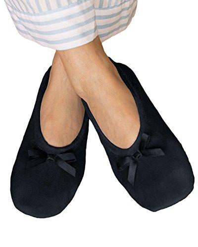 Leather Ballerina Slipper Black (National Velour Ballerina Slippers, Black, Large)