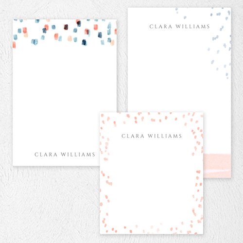 Custom Peach and Navy Paint Lines Note Pad Set Personalized Stationery - 50 sheets per note pad - 3 designs and sizes: 4.25x5, 4.25x6, 4.25x7. Made in the USA. Custom 50 Sheet Notepads