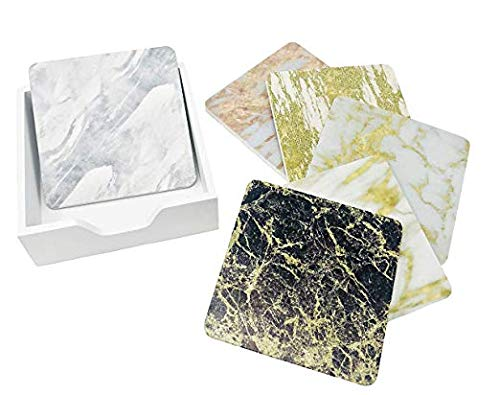 - 6 Pack - Metallic Stone and Marble Tile Design Drink Coasters Table Set with Holder - Six Styles with Gold, Silver and Rose Gold Included