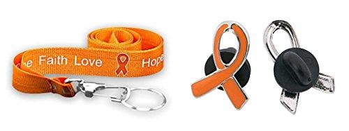 Awareness Orange Ribbon Lanyard Badge Holder - Hope Faith Love & Orange Awareness Ribbon Pin, Support Kidney, Leukemia, Multiple -