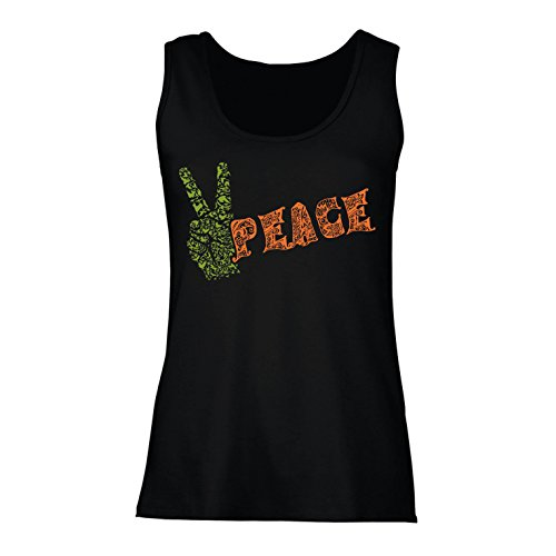 lepni.me Womens Tank Tops Peace Symbol, 60s 70s Hippy Hippie Festival, Peace Sign Flower Summer Hipster Swag (Medium Black Multi Color)