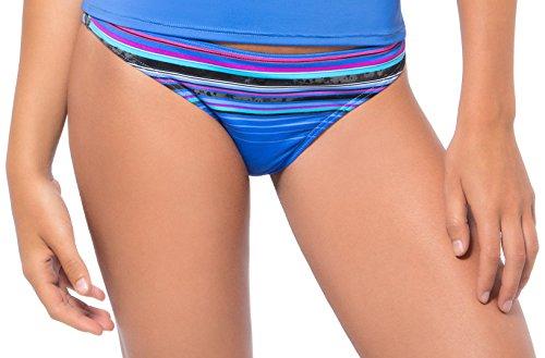 Oakley Women's Velocity Stripe Hipster Bikini Bottom, Cloud Blue/Multi, Small - Velocity Womens Slip