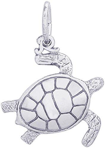 Rembrandt Charms 14K White Gold Sea Turtle Charm (17 x 17 -